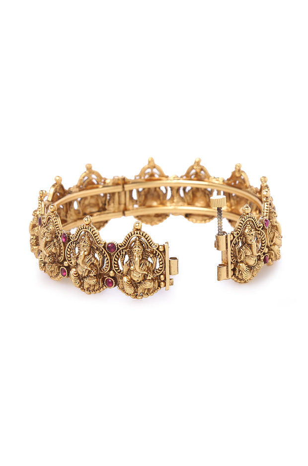 Anaye Gold Plated Temple Work Bangles - Set of 2