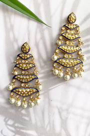 Kashvi Blue Meenakari Kundan Handpainted Chandbali Earrings