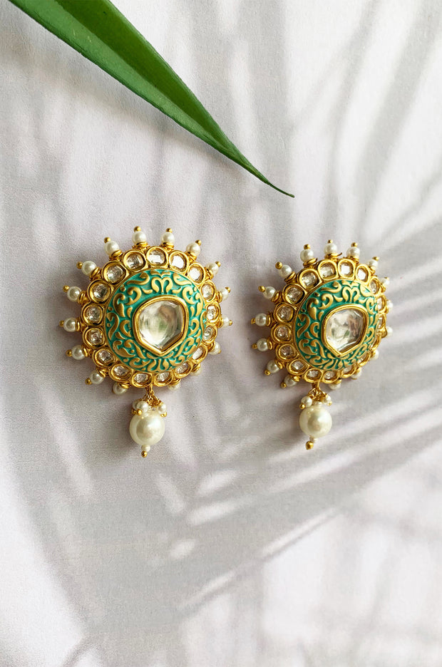 Taiba Turquoise Gold Tone Meenakari Earrings With Pearls