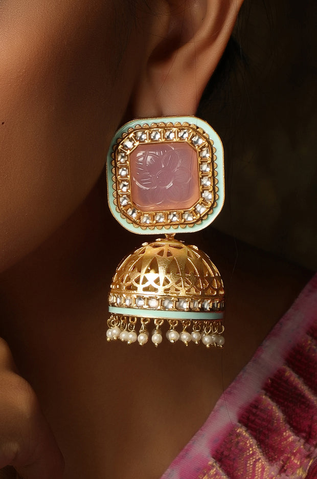 Aqsaa Gold Plated Pink And Green Meenakari Jhumka