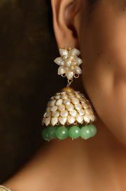 Baamini Gold Plated Pearl Patchi Jhumka with Green Stones