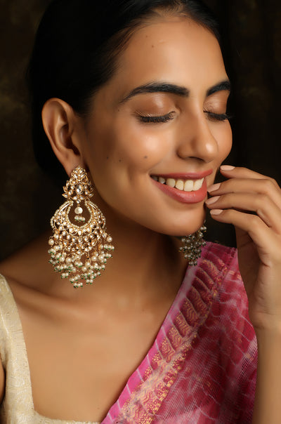 Guneet Gold Tone Kundan Earrings With Pearls