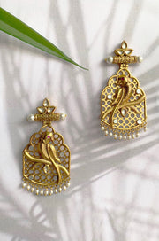 Habiba Gold Plated Kundan Inspired Danglers With Pearls