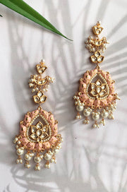 Raika Pastel Pink Kundan Handpainted Chandbaali Earrings
