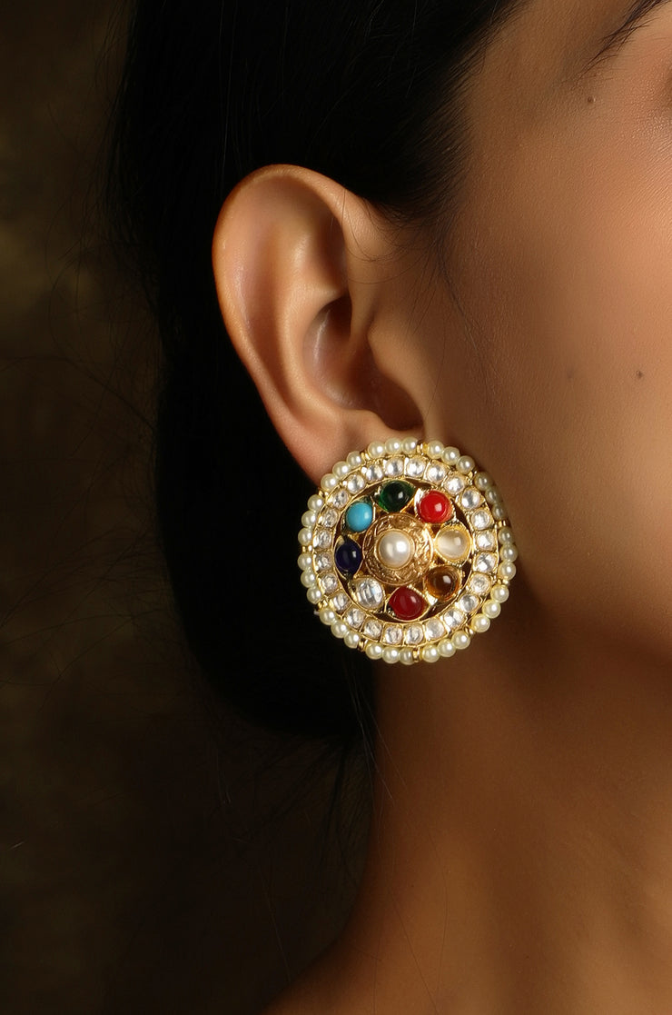 Urmi Multicolored Gold Tone Polki And Jade Stud Earrings
