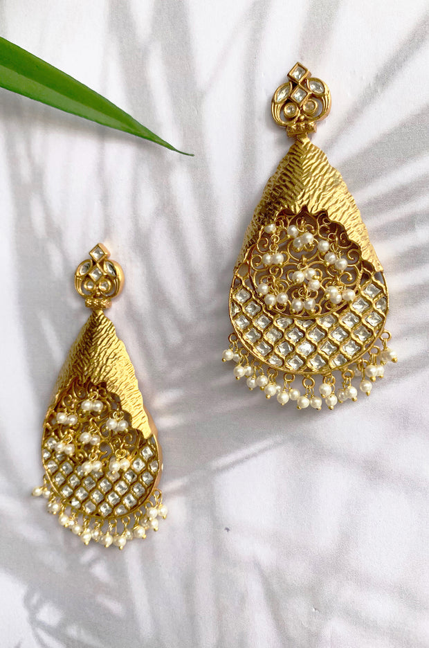 Mitesha Gold Plated With Pearls Danglers