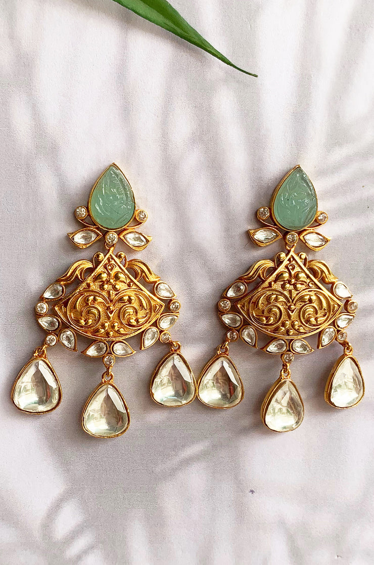 Suchita Gold Tone Kundan Earrings With Green Stones