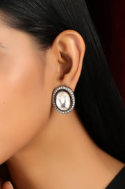Fiza Silver Tone Victorian Polki Stud Earrings