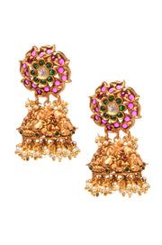 Kamna Pink - Green Gold Tone Pearl Temple Work Jhumki