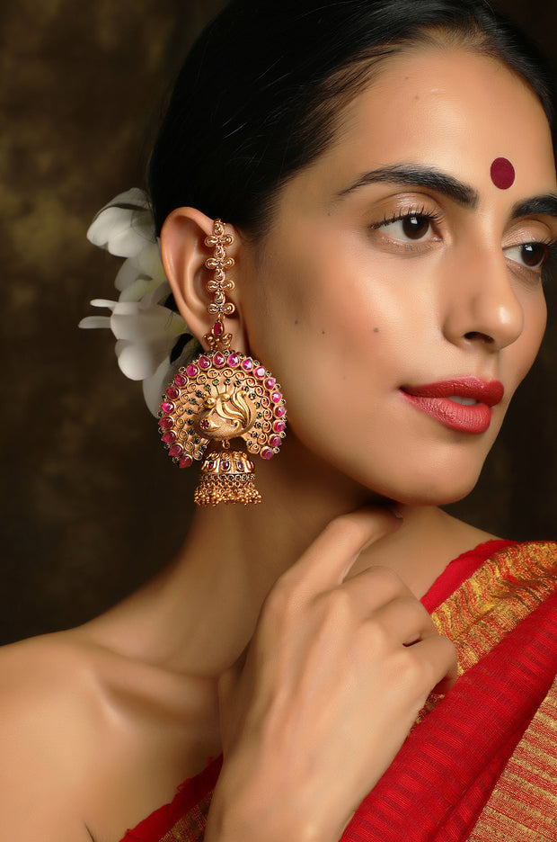 Saayutha Pink Temple Work Earrings With Hair Chain