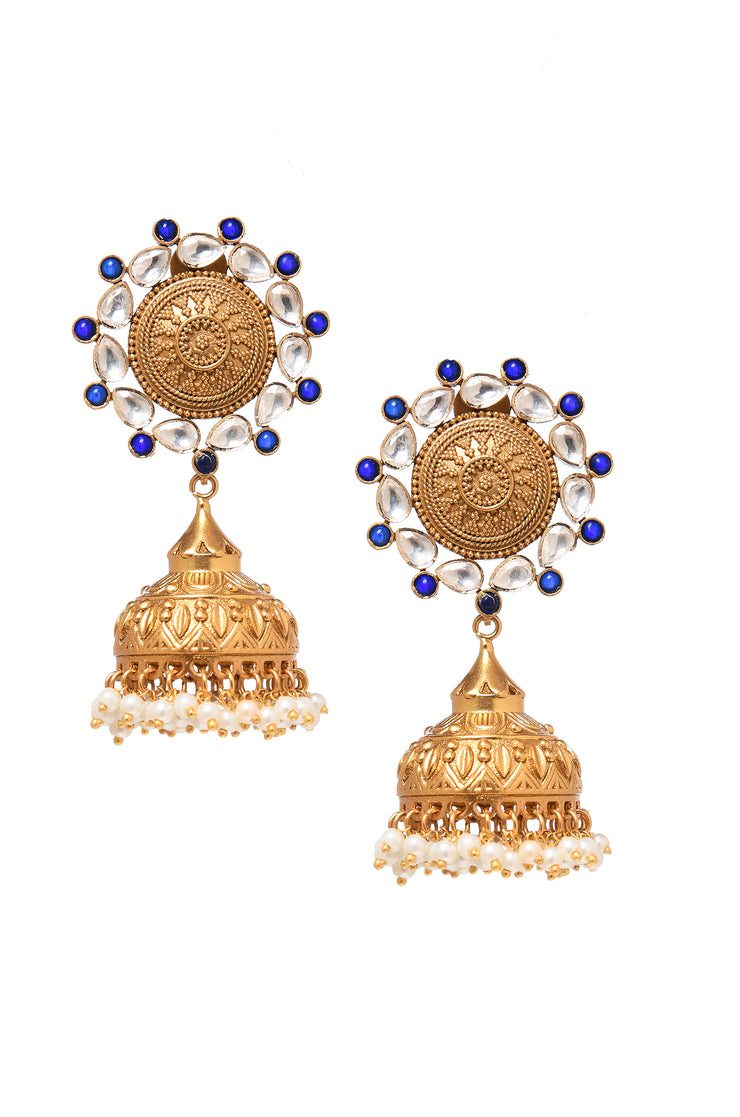 Aarunya Blue Gold Tone Temple Work Earrings