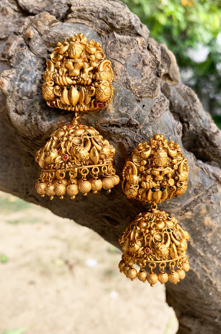 Madhurima Green Gold Tone Temple Work Jhumkis