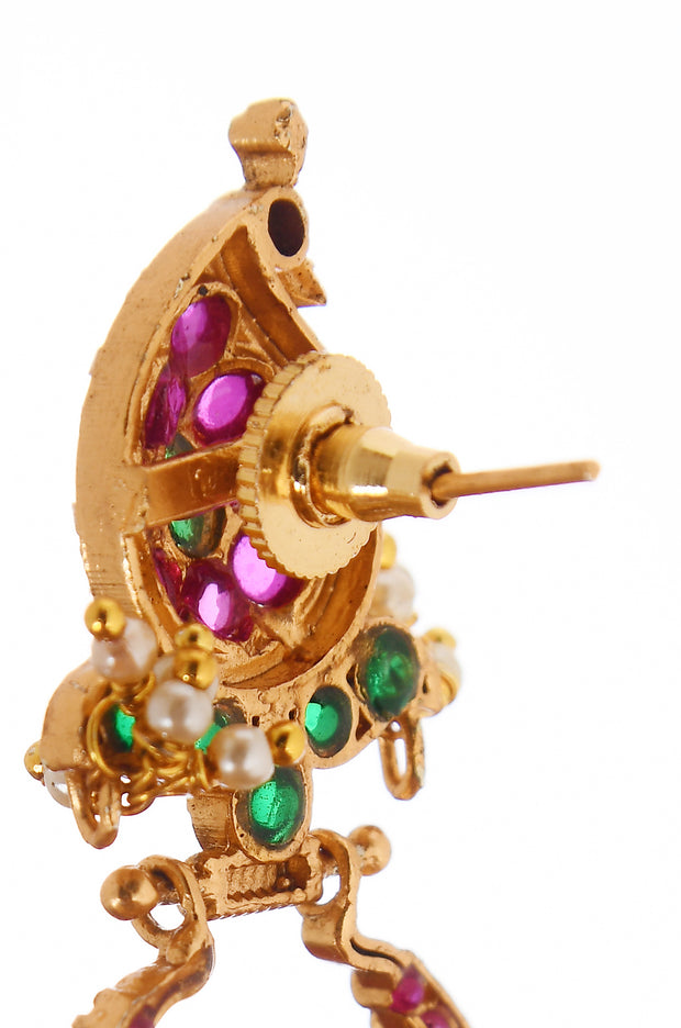 Wakeeta Pink Green Gold Tone Temple Work Chandbali Earrings