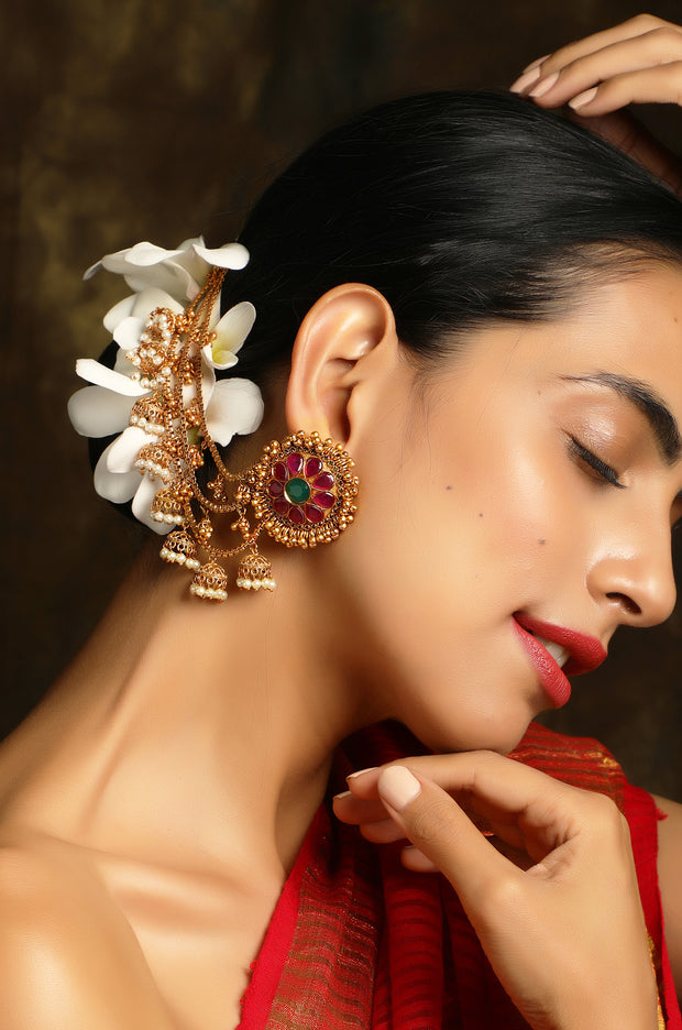Raagini Red and Green Temple Work Earrings With Hair Chains And Jhumkis