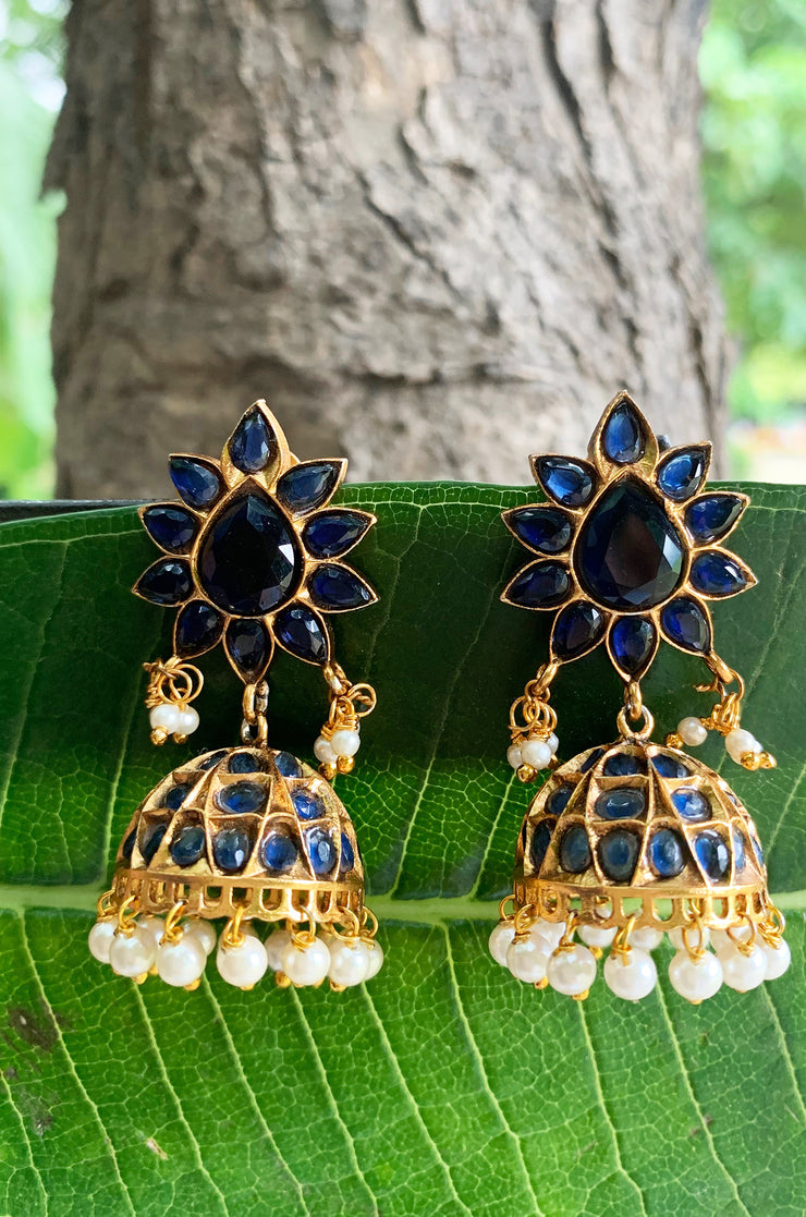 Kinara Blue Stone Temple Work Jhumkis