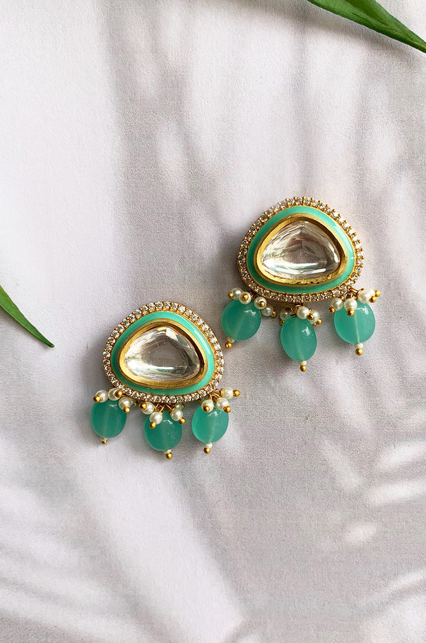 Rihana Turquoise Stone Polki Meenakari Earrings
