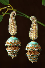 Raya Turquoise Kundan Handpainted Jhumka Earrings