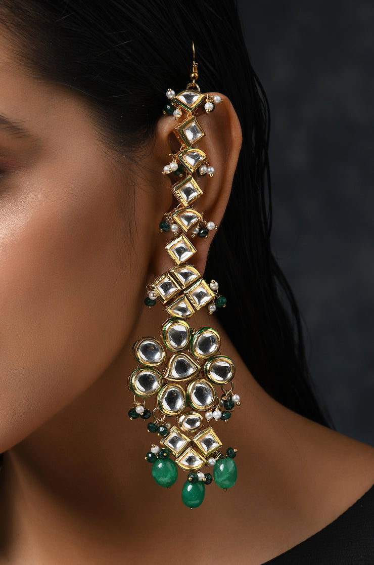 Priyaashi Green Gold Tone Kundan Earrings