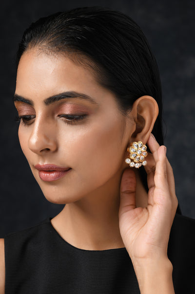 Falguni Gold Tone Kundan Inspired Studs With Pearls