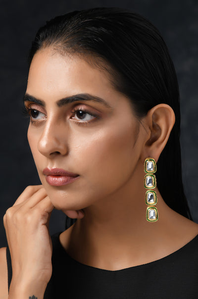 Arya Gold Tone Kundan Inspired Earrings