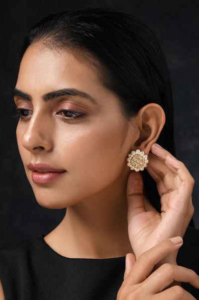 Ekiya Gold Tone Kundan Inspired Pearl Stud Earrings