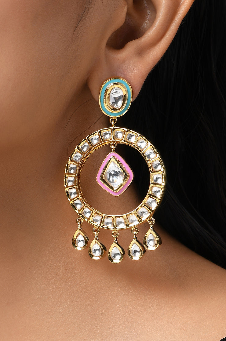 Maryam Polki and Meenakari Chandbali Earrings