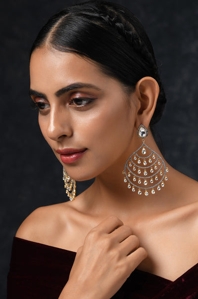 Alina Faux Diamond CZ Silver Plated Chandbaali Earrings