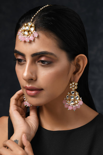 Reema Pink Gold Tone Kundan Earrings and Mangtikka