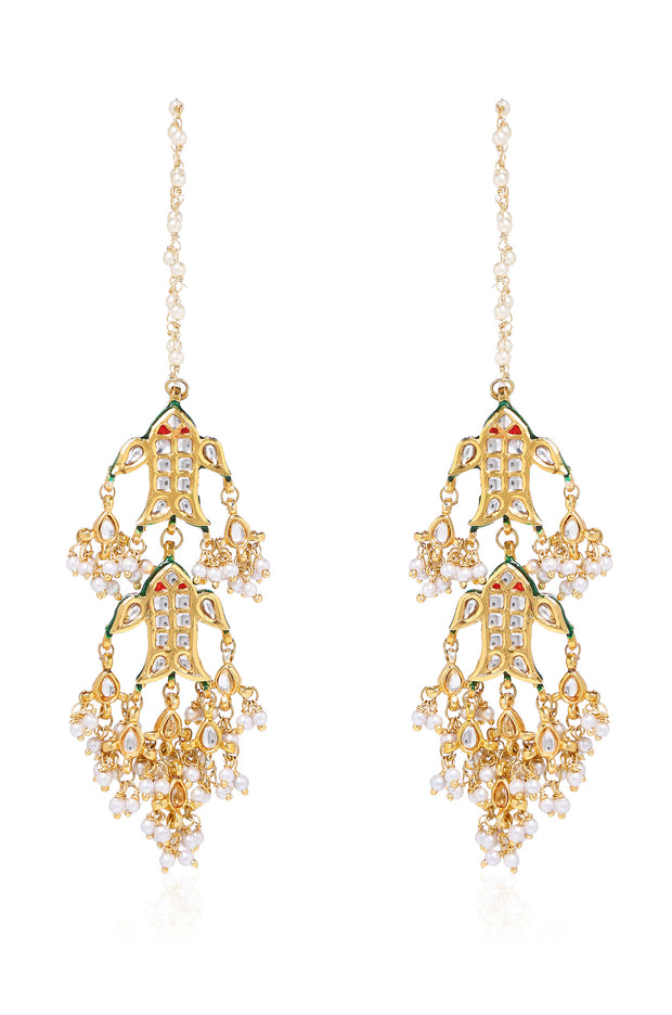 Nora Gold Tone Kundan Earrings with Pearls