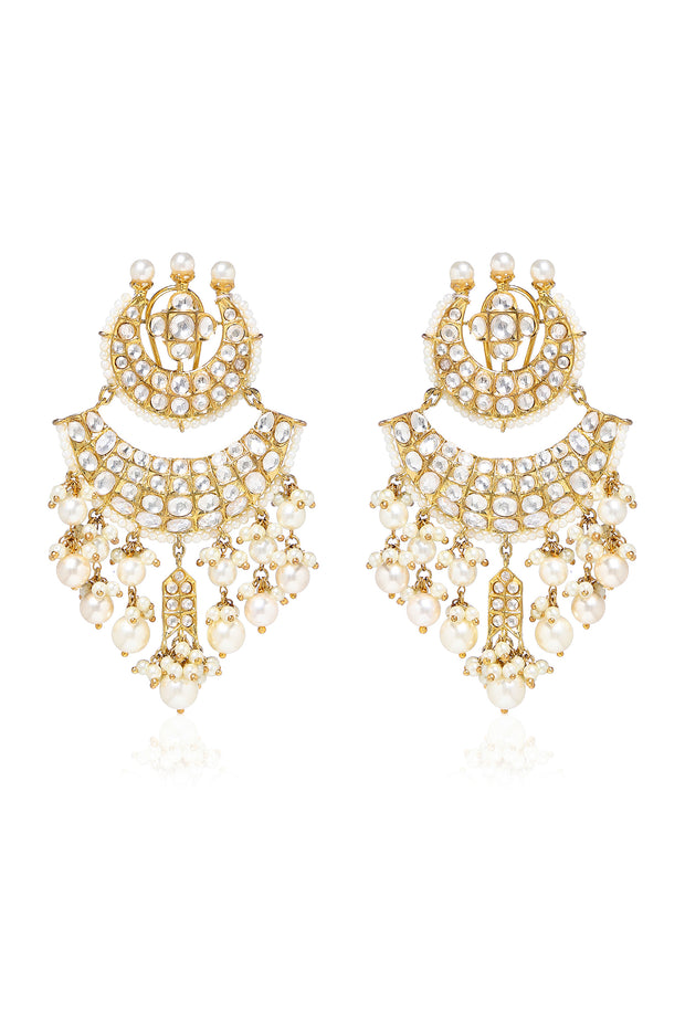 Ramya Gold Tone Pearl and Polki And Chandbali Earrings