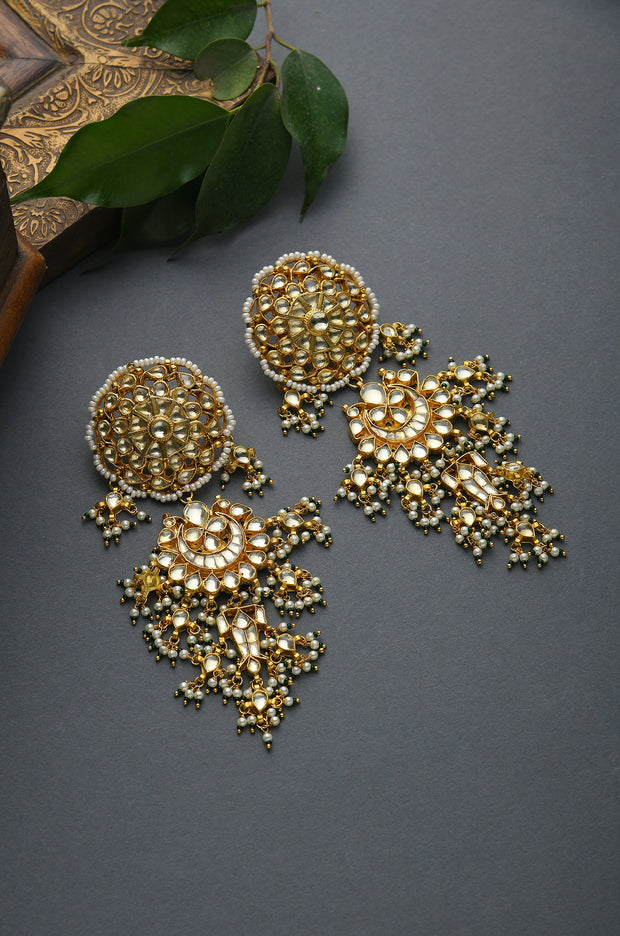Bavini Gold Tone Kundan Earrings With Pearls