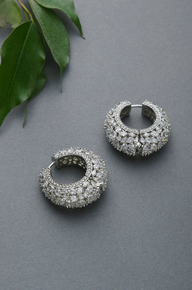 Triya Classic Silver Faux Diamond Victorian Earrings