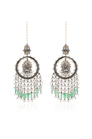 Idika Green Silver Plated Kundan Inspired Pearl Chandbaalli Earrings