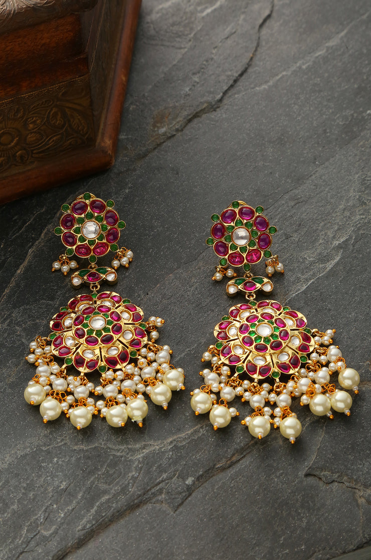 Netra Pink-Green Gold Plated Meenakari Earrings