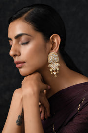 Raksha Gold Plated Polki Earrings with Pearls