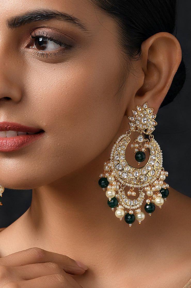 Dishita Green Gold Plated Kundan Earrings