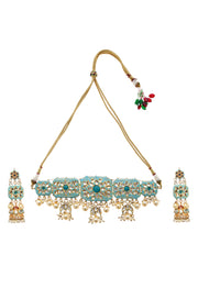Vamitra Turquoise Meenakari Handpainted Shell Pearl Necklace Set