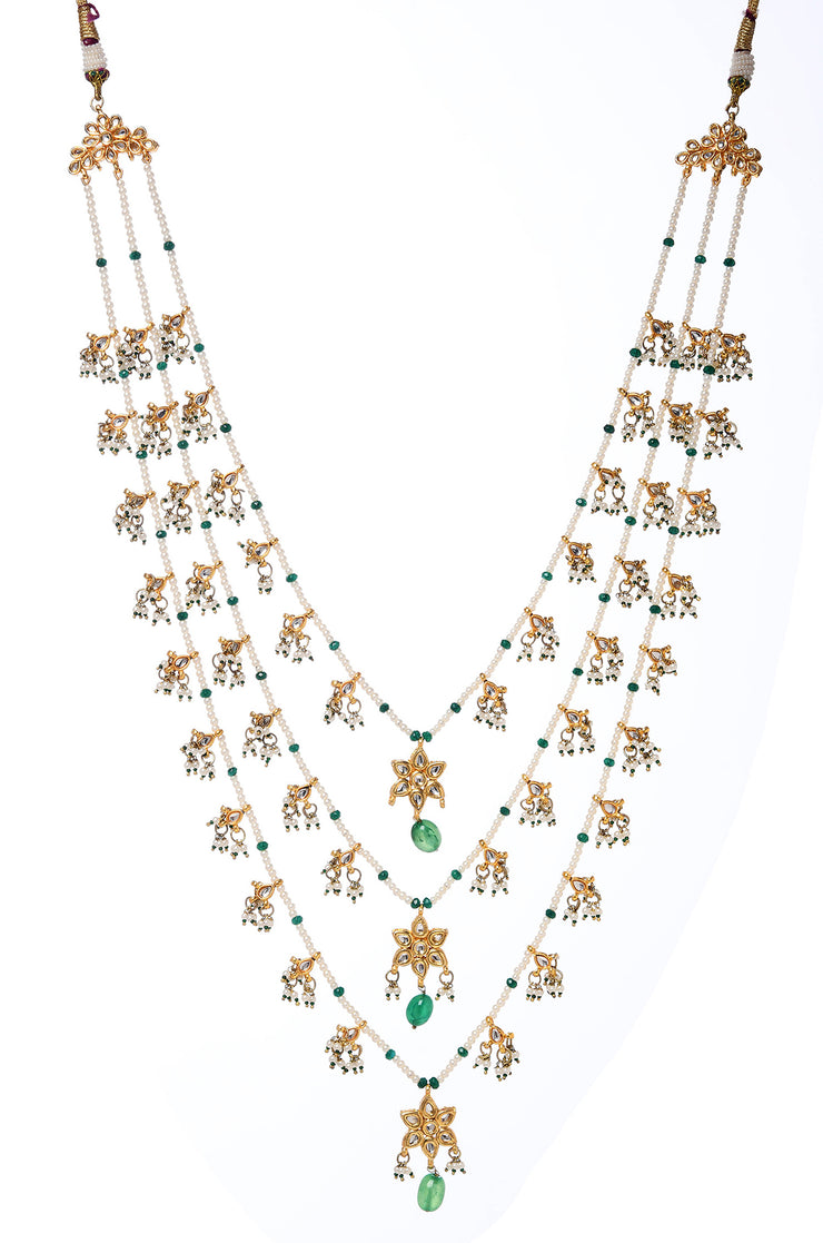 Grisha Green White Gold Tone Kundan Pearl Necklace