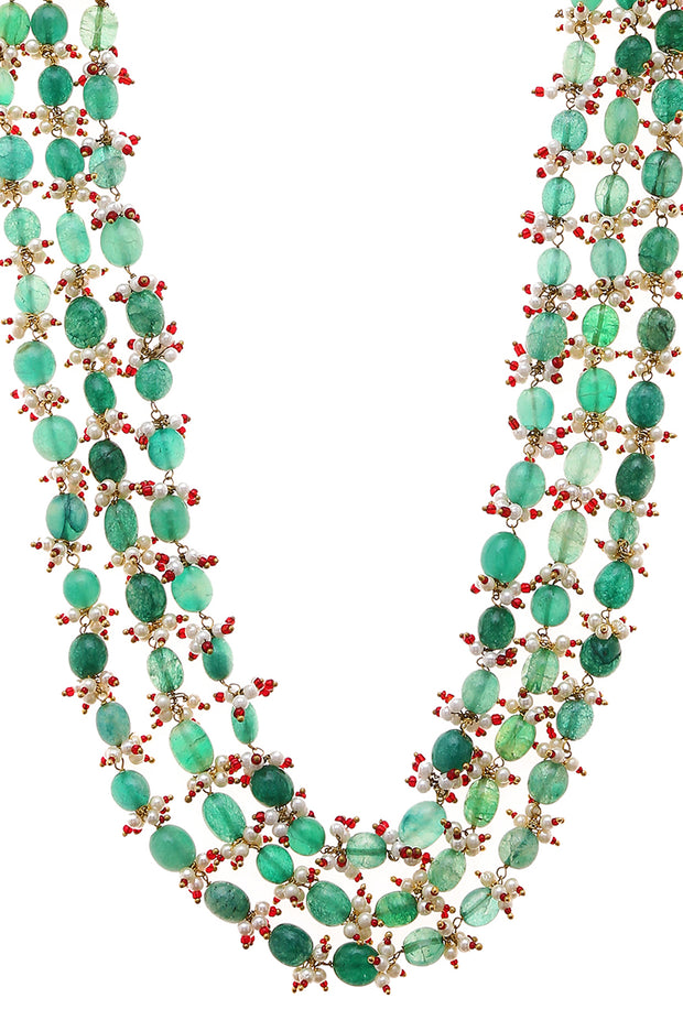 Himani Green Gold Tone Pearl Beaded Necklace
