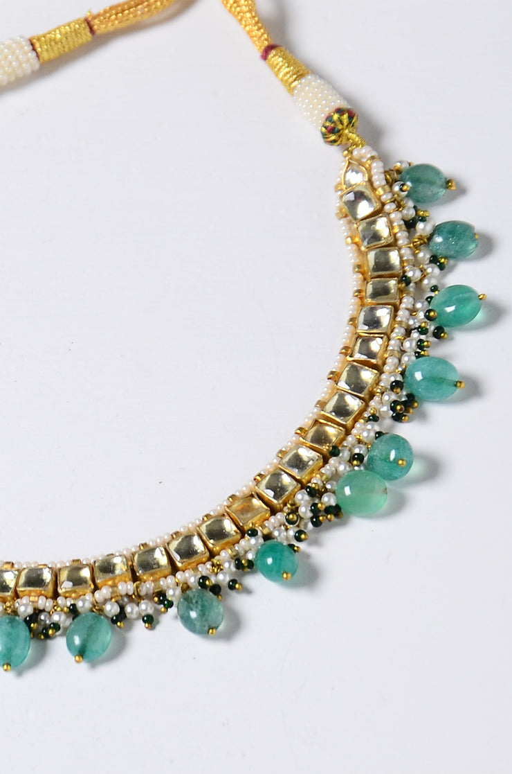 Aabroo Green Quartz Gold Tone Kundan Necklace