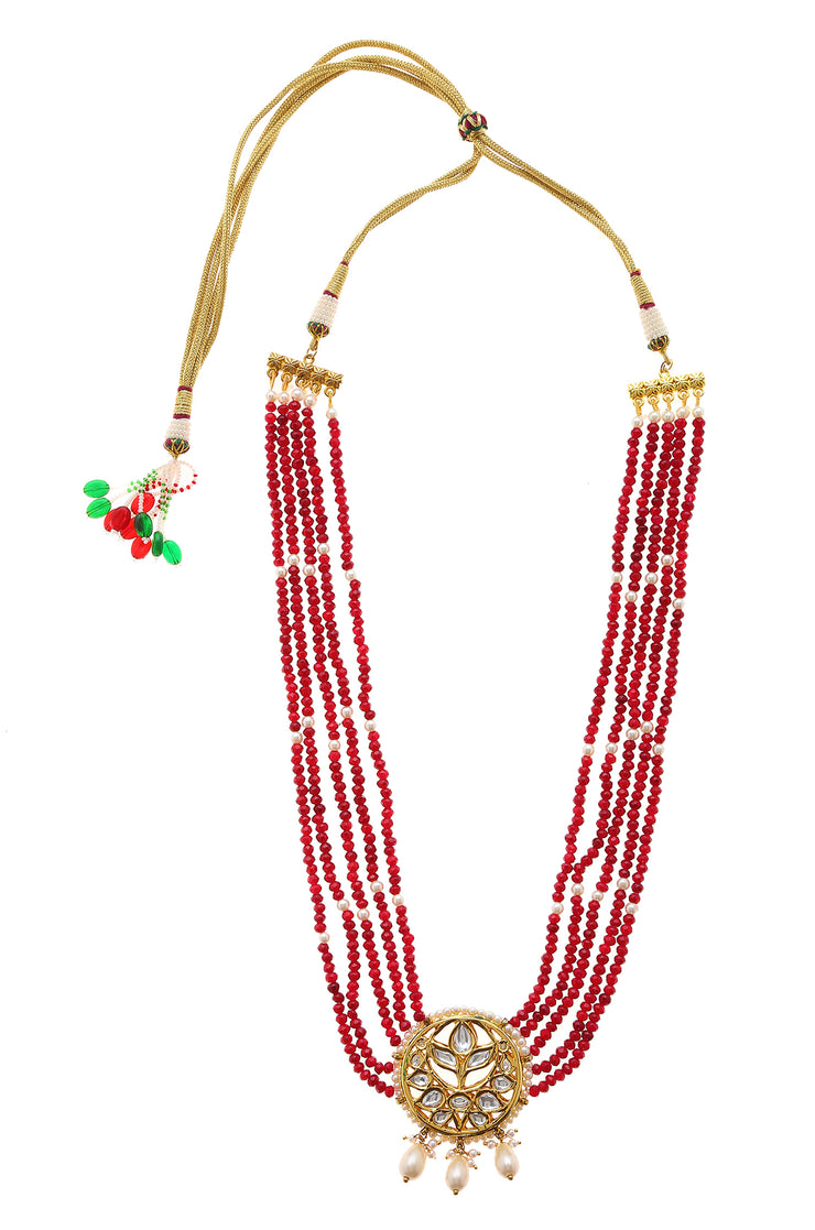 Raahini Red Gold Tone Kundan Quartz Necklace