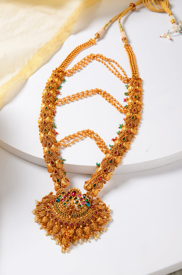 Urvi Gold Plated Temple Work Kemp Necklace Set