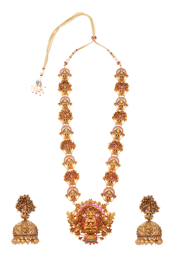 Agrima Red Green Gold Plated Temple Work Necklace with Jhumka