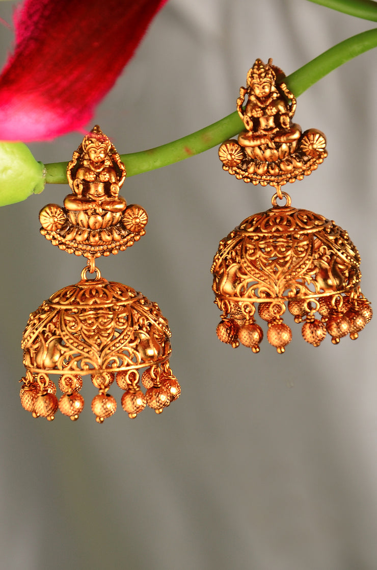 Wamika Gold Plated Intricate Lakshmi Temple Work Necklace Set