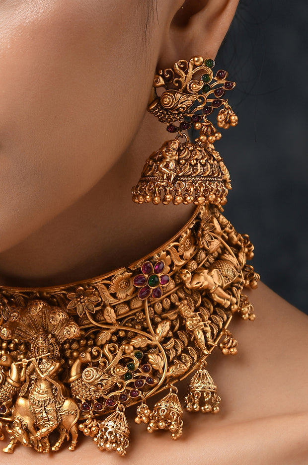 Vanyapa Gold Tone Temple Work Necklace with Jhumkis