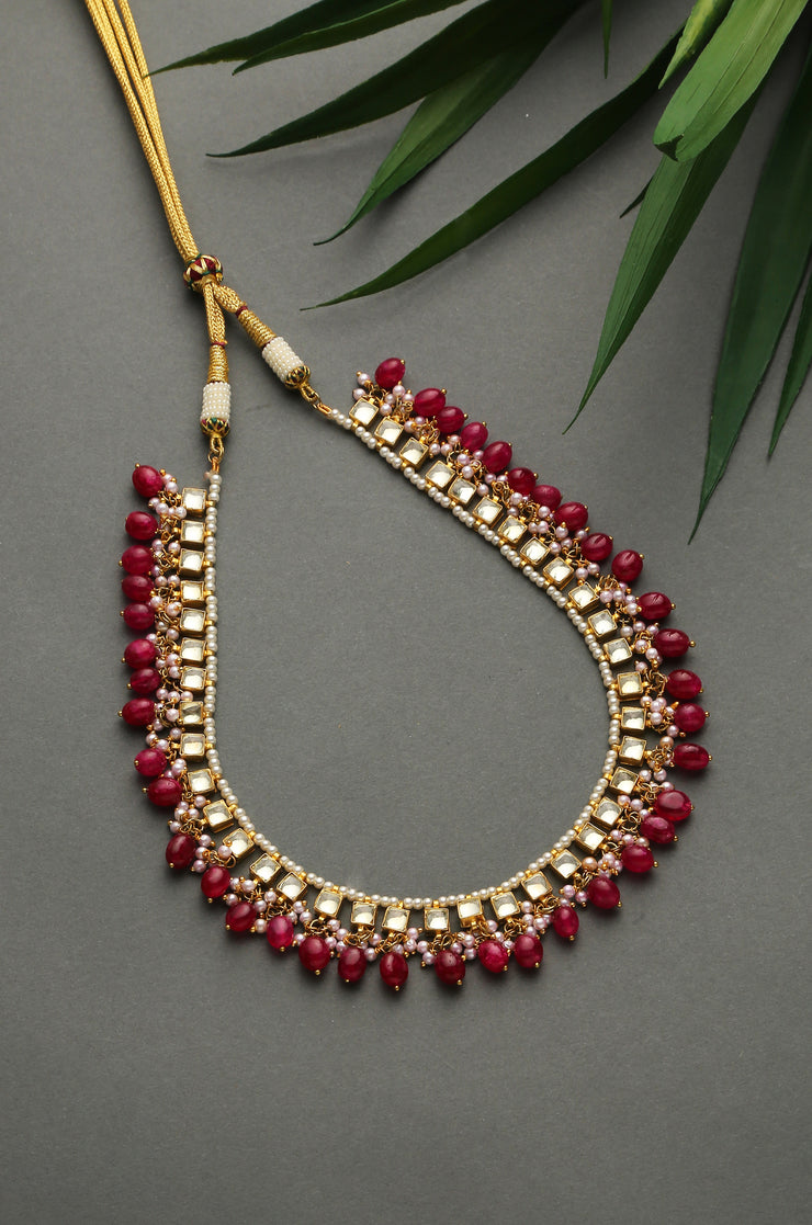 Rakshitha Pink Gold Tone Kundan Inspired Quarts Necklace