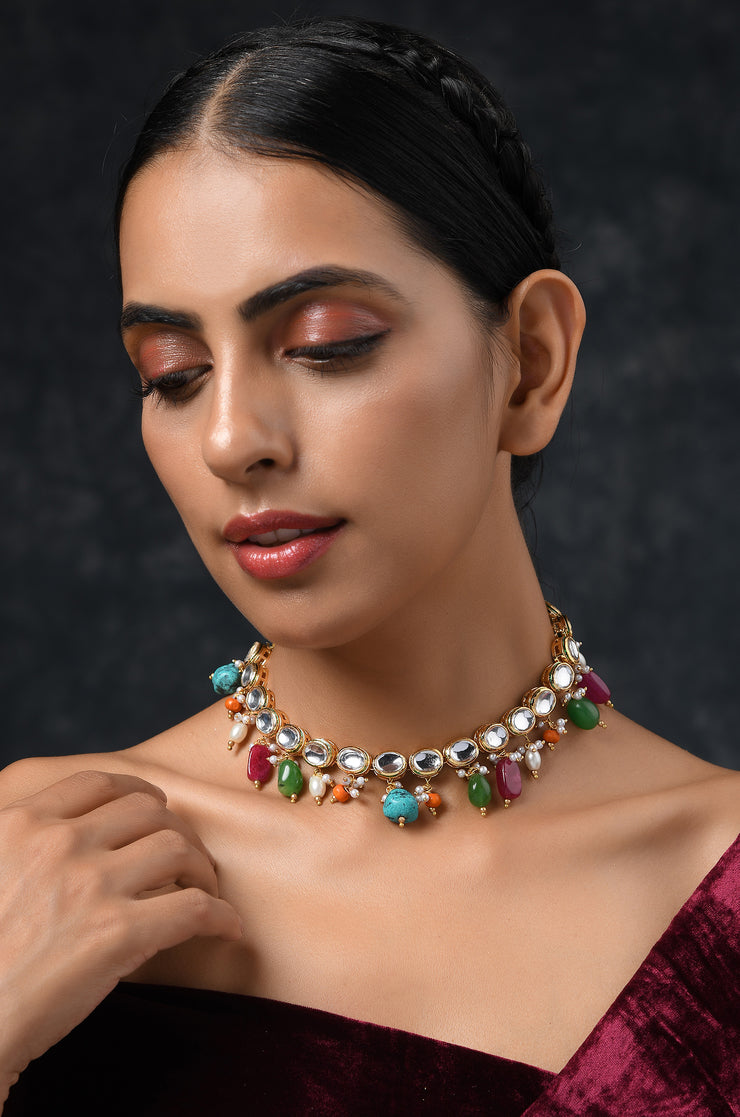 Ridham Multicolored Gold Tone Kundan Necklace