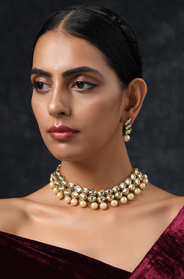 Zyra White Gold Tone Kundan Inspired Pearl Necklace