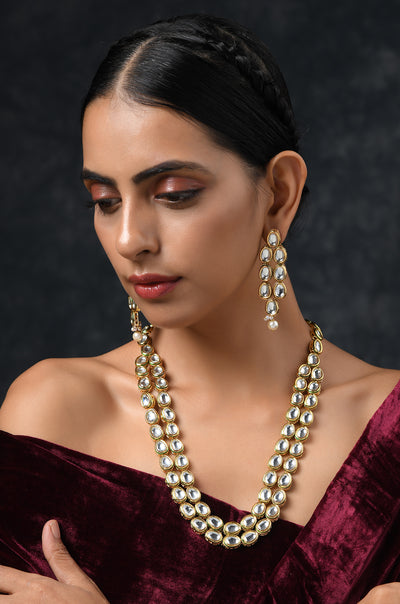 Manya Classic Gold Tone Kundan Inspired Necklace With Earrings