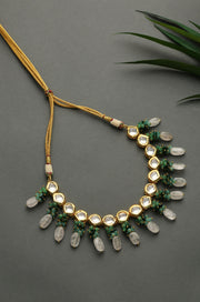 Pritha Pink-Green Gold Tone Kundan Inspired Choker Necklace